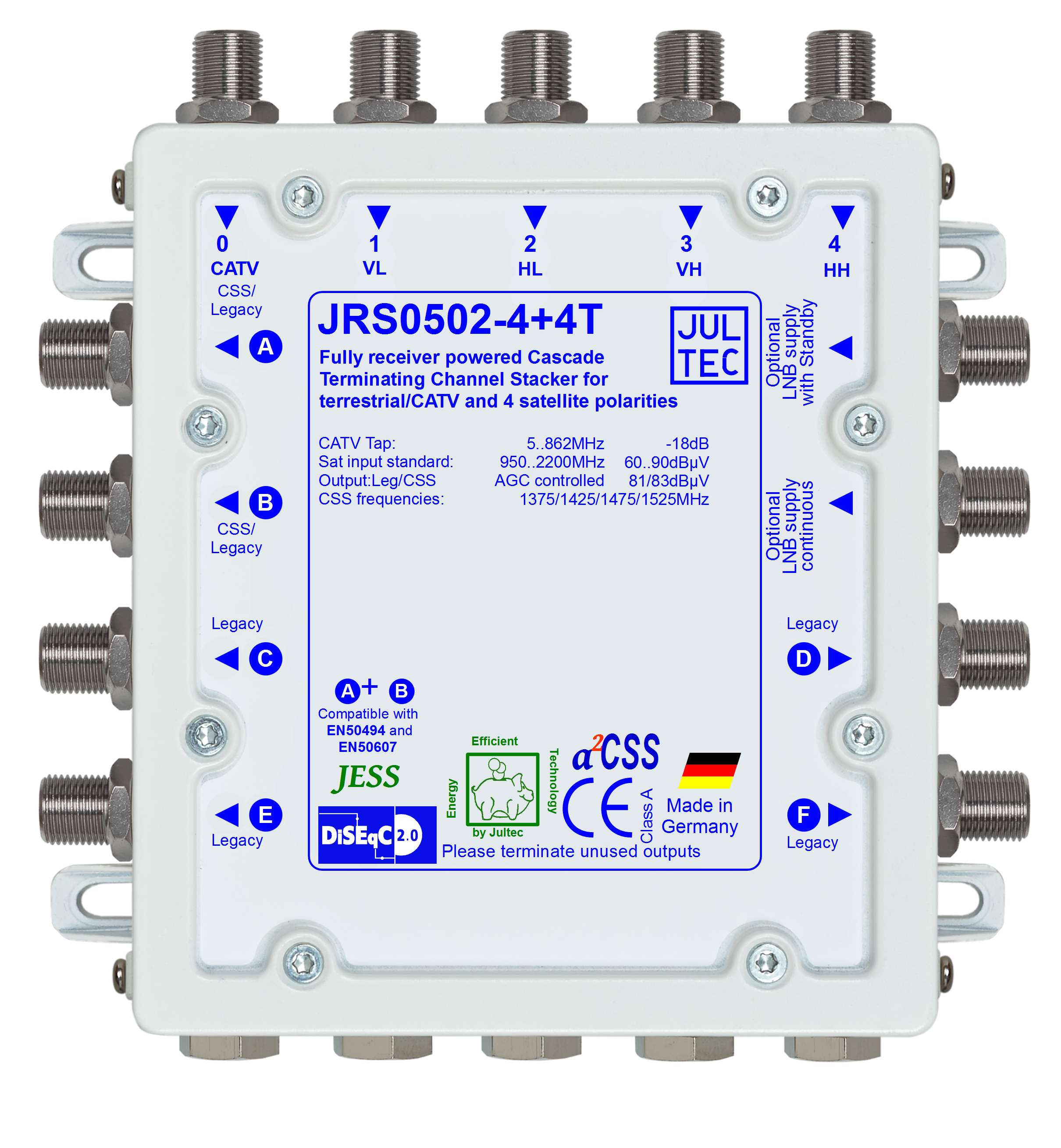 Jultec JRS0502-4+4T Einkabelumsetzer stromsparend | 1 Satellit | bis zu 12 Teilnehmer | Endkaskade