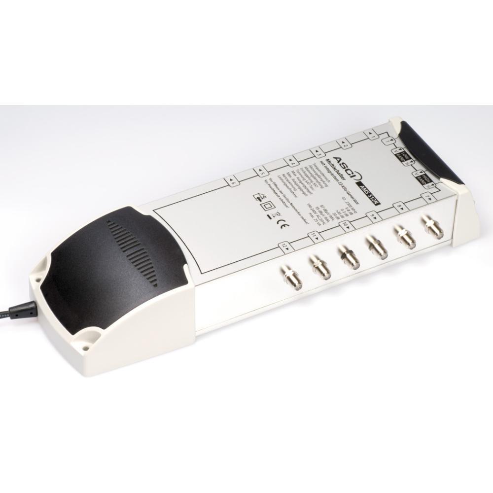ASCI AMS 512 N ECO Multischalter 5/12 für 12 Teilnehmer | 5 in 12, Terrestrik verstärkt, Stromspar-Funktion, HDTV-, UHD(4K)-,3D-tauglich