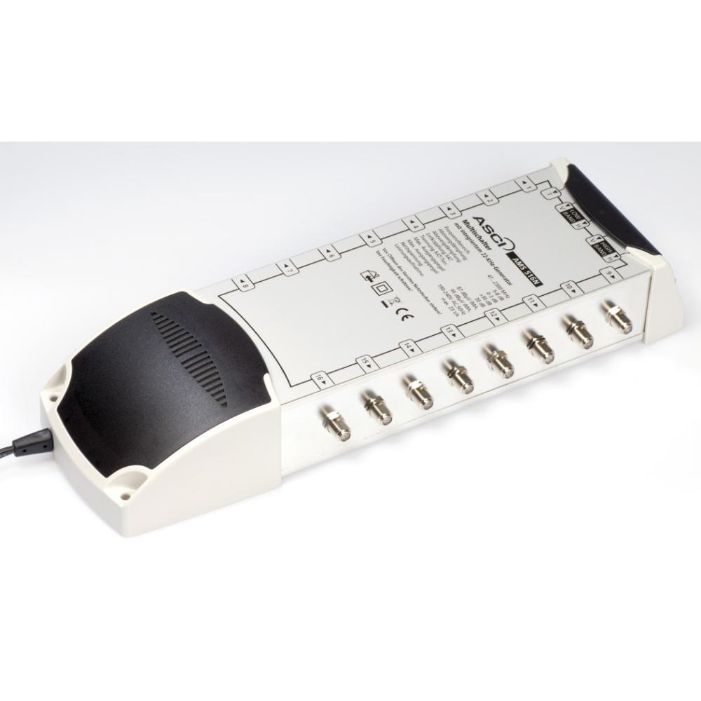 ASCI AMS 516 N ECO Multischalter 5/16 für 16 Teilnehmer | 5 in 16, Terrestrik verstärkt, Stromspar-Funktion, HDTV-, UHD(4K)-,3D-tauglich