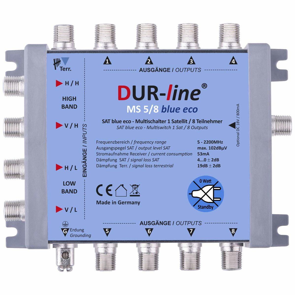 DUR-line MS 5/8 blue eco Stromspar Sat Multischalter 8 Teilnehmer ohne Netzteil