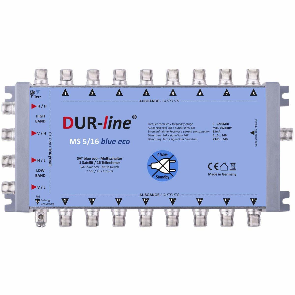 DUR-line MS 5/16 blue eco Stromspar Sat Multischalter 16 Teilnehmer ohne Netzteil