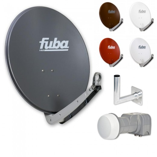 Fuba Satellitenschüssel Komplettset 2 Teilnehmer I Sat Schüssel 65cm + Twin LNB 2 Teilnehmer + Winkelwandhalter