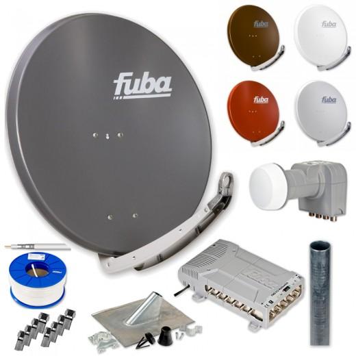 Fuba HD Sat-Anlage 12 Teilnehmer | DAA 850 Aluminium Sat-Antenne + DEK 406 + FMQ 512 + Antennenmast + Koaxialkabel + Stecker