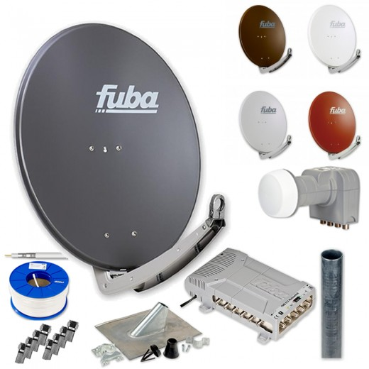 Fuba HD Sat-Anlage 12 Teilnehmer | DAA 780 Sat-Antenne + DEK 406 + FMQ 512 + Antennenmast + Koaxialkabel + Stecker