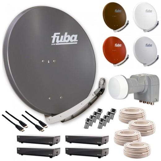 Fuba DAA 650 HD Sat Anlage - 4 Teilnehmer (DEK 416) - Sat Anlage bestehend aus Fuba DAA 650 in Ihrer Wunschfarbe + Fuba DEK 416 Quad-LNB + 4 x 20 m Fuba GKA 300 Koaxialkabel + 8 x Fuba OVZ 035 F-Stecker + 4 x Fuba ODS 200 HD Sat-Receiver und 4 x Fuba FHD