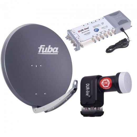 Digital Sat Anlage 12 Teilnehmer | Fuba DAA 850 A Sat-Schüssel 85cm Alu anthrazit + DUR-line +Ultra Quattro LNB + DUR-line MS 5/12 G-HQ Sat Multischalter 12 Teilnehmer (DVB-S2, HDTV, UHD/4K, 3D)