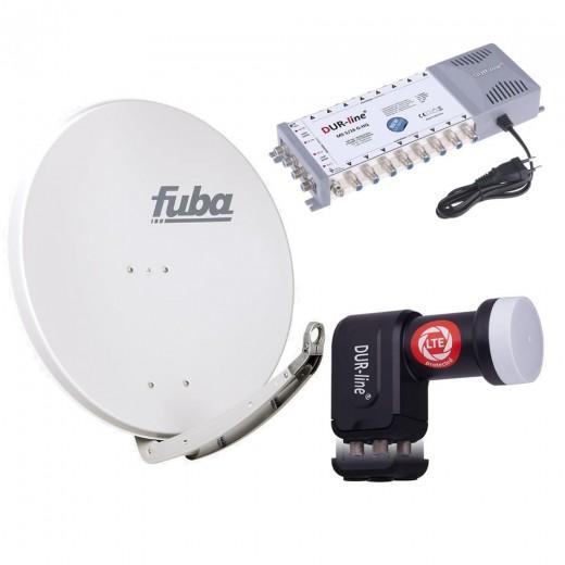 Digital Sat Anlage 16 Teilnehmer | Fuba DAA 850 G Sat-Schüssel 85cm Alu hellgrau + DUR-line +Ultra Quattro LNB + DUR-line MS 5/16 G-HQ Sat Multischalter 16 Teilnehmer (DVB-S2, HDTV, UHD/4K, 3D)