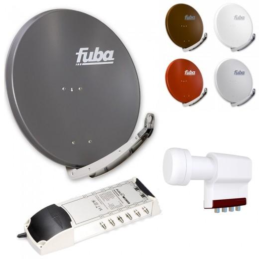 12-Teilnehmer-Sat-Anlage | Fuba DAA 850 Sat-Schüssel + LNB + 5/12 Multischalter