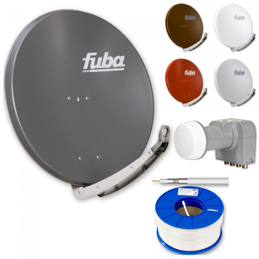 Fuba DAA 850 HD Sat Anlage - 4 Teilnehmer (DEK 416) - Sat Anlage bestehend aus Fuba DAA 850 in Ihrer Wunschfarbe + Fuba DEK 416 Quad LNB + 100m Fuba GKA 300