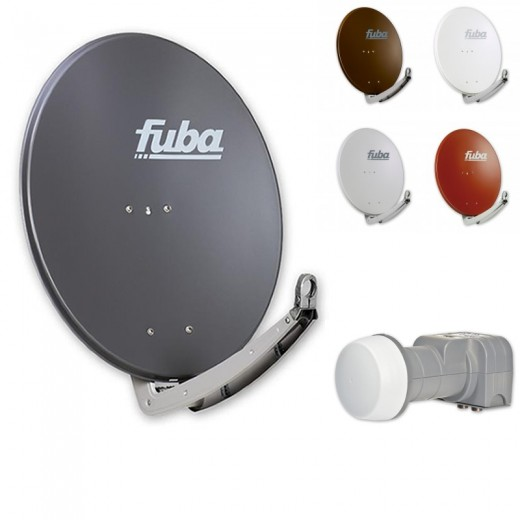 Fuba DAA 780 HD Sat Anlage - 2 Teilnehmer (DEK 206) - Sat Anlage bestehend aus Fuba DAA 780 in Ihrer Wunschfarbe + Fuba DEK 206 Twin LNB