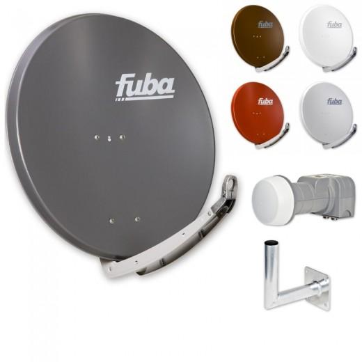 Fuba DAA 850 HD Sat Anlage - 2 Teilnehmer (DEK 206) - Sat Anlage bestehend aus Fuba DAA 850 in Ihrer Wunschfarbe + Fuba DEK 206 Twin LNB + Fuba Wandhalter