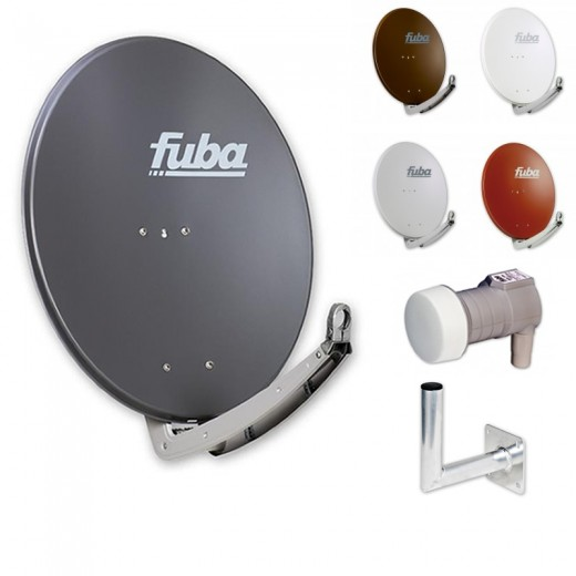 Fuba DAA 780 HD Sat Anlage - 1 Teilnehmer (DEK 106) - Sat Anlage bestehend aus Fuba DAA 780 in Ihrer Wunschfarbe + Fuba DEK 106 Single LNB + Fuba Wandhalter