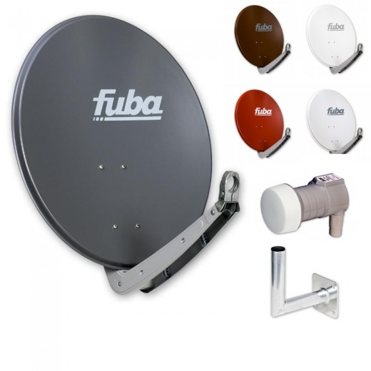 Fuba DAA 650 HD Sat Anlage - 1 Teilnehmer (DEK 106) - Sat Anlage bestehend aus Fuba DAA 650 in Ihrer Wunschfarbe + Fuba DEK 106 Single LNB + Fuba Wandhalter