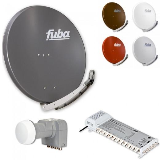 Fuba DAA 850 HD Sat Anlage - 12 Teilnehmer (FMS 512) - Sat Anlage bestehend aus Fuba DAA 850 in Ihrer Wunschfarbe + Fuba DEK 406 Quattro LNB + Fuba FMS 512
