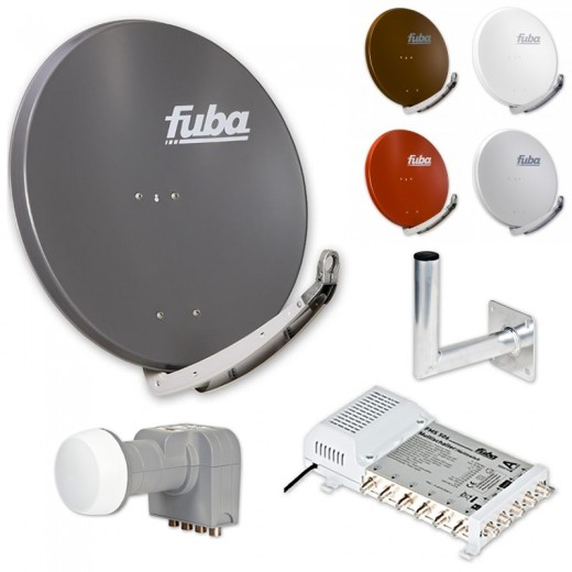 Fuba DAA 850 HD Sat Anlage - 6 Teilnehmer (FMS 506) - Sat Anlage bestehend aus Fuba DAA 850 in Ihrer Wunschfarbe + Fuba DEK 406 Quattro LNB + Fuba FMS 506 + Fuba Wandhalter
