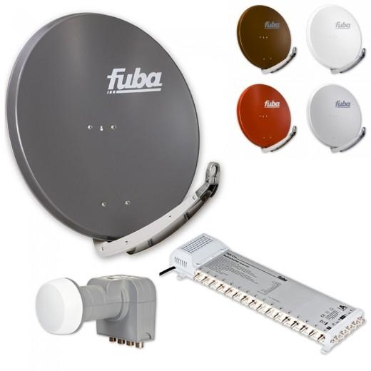 Fuba Digital Sat-Anlage 16 Teilnehmer | Fuba DAA 850 in Wunschfarbe + DEK 407 Quattro LNB + Fuba FMS 516 Multischalter