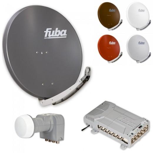 Fuba HD Sat-Anlage 12 Teilnehmer | Fuba DAA 850 in Wunschfarbe + DEK 407 Quattro LNB + Fuba FMQ 512 Profi-Multischalter