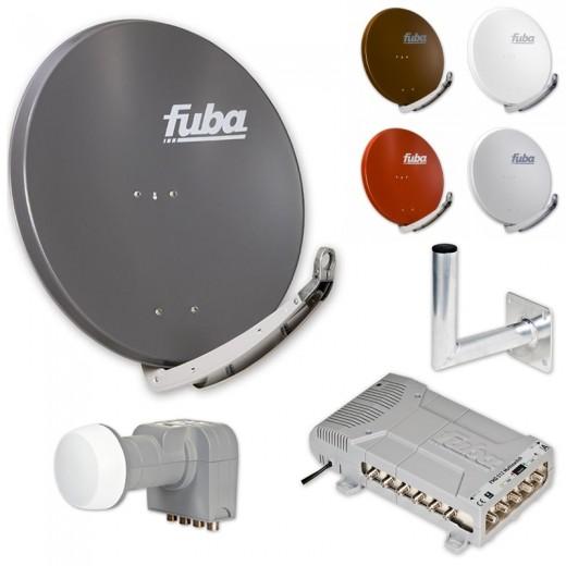 Fuba HD Sat-Anlage 12 Teilnehmer | Fuba DAA 850 in Wunschfarbe + DEK 407 Quattro LNB + Fuba FMQ 512 Profi-Multischalter + Winkelwandhalter