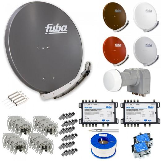 Fuba Kabel auf Sat HDTV Umrüstset - 16 Teilnehmer - 4 Stränge - inkl. Fuba DAA 850 in Wunschfarbe