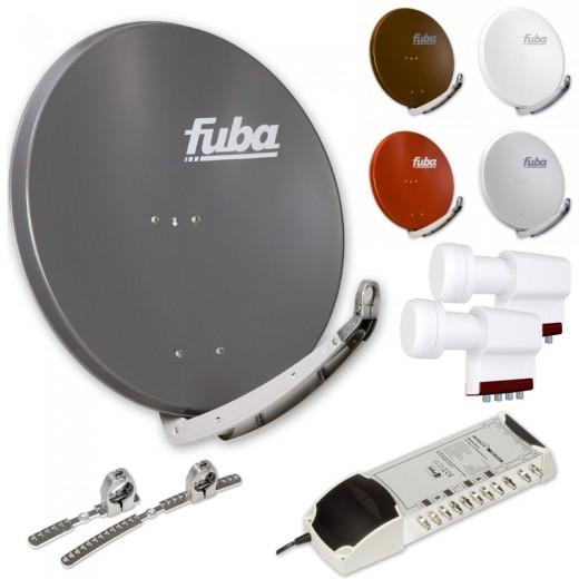 8-Teilnehmer-Sat-Anlage für 2 Satelliten | Fuba DAA 850 Sat-Schüssel + 2xLNB + 9/8 Multischalter