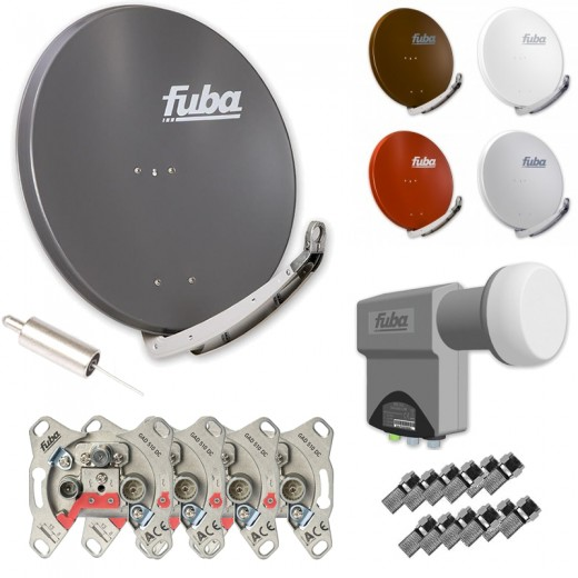 Fuba Kabel auf Sat HDTV Umrüstset - 4 Teilnehmer - 1 Strang - inkl. Fuba DAA 850 in Wunschfarbe