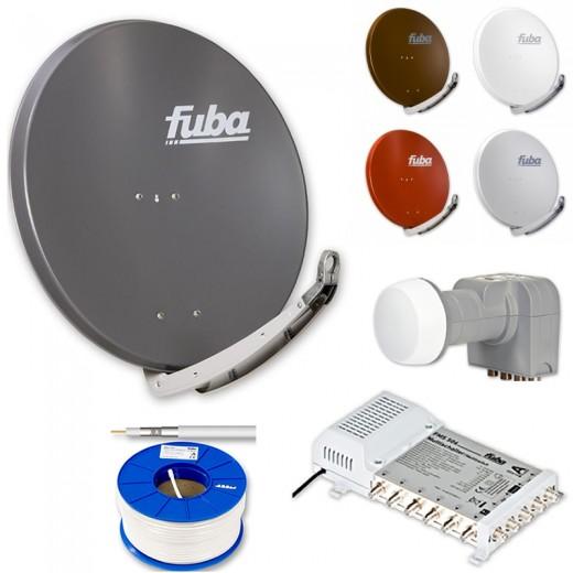 Fuba DAA 850 HD Sat Anlage - 6 Teilnehmer (FMS 506) - Sat Anlage bestehend aus Fuba DAA 850 in Ihrer Wunschfarbe + Fuba DEK 406 Quattro LNB + Fuba FMS 506 + 100m Fuba GKA