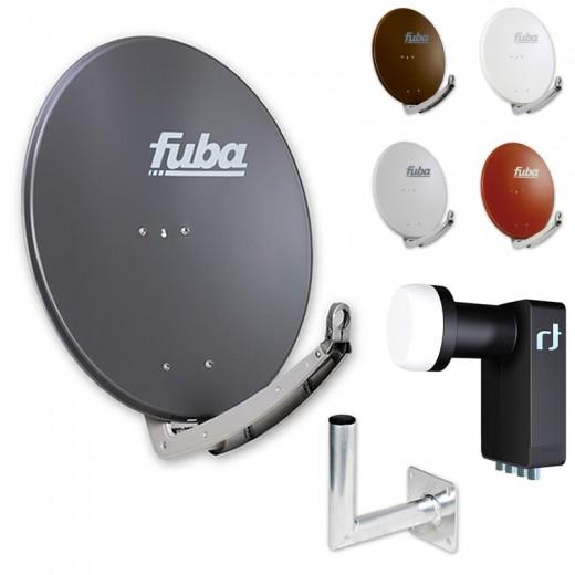 Fuba DAA 650 HD Sat Anlage - 4 Teilnehmer (m. Inverto Quad LNB) - Sat Anlage bestehend aus Fuba DAA 650 in Ihrer Wunschfarbe + Inverto Black Ultra Quad LNB + Fuba Wandhalter