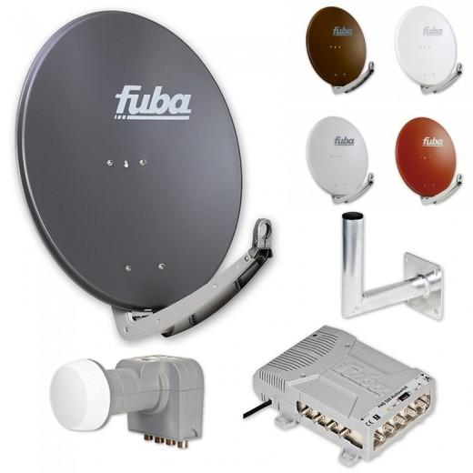 Fuba HD Satelliten-Anlage 8 Teilnehmer | Fuba DAA 780 in Wunschfarbe + DEK 407 Quattro LNB + Fuba FMQ 508 Profi-Multischalter + Fuba Winkelwandhalter