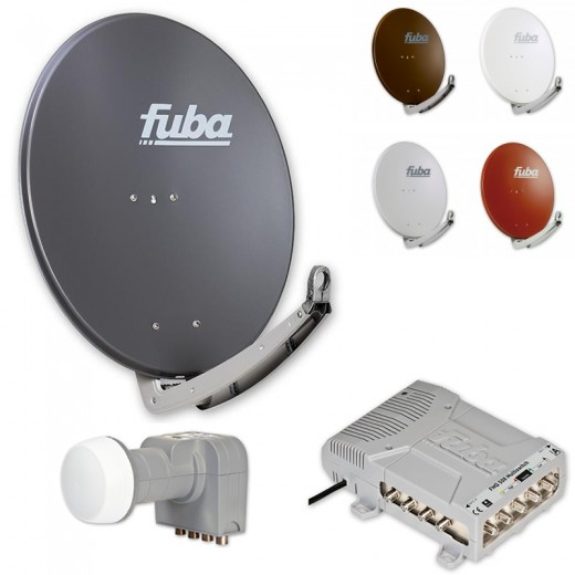 Fuba HD Satelliten-Anlage 8 Teilnehmer | Fuba DAA 780 in Wunschfarbe + DEK 406 Quattro LNB + Fuba FMQ 508 Profi-Multischalter