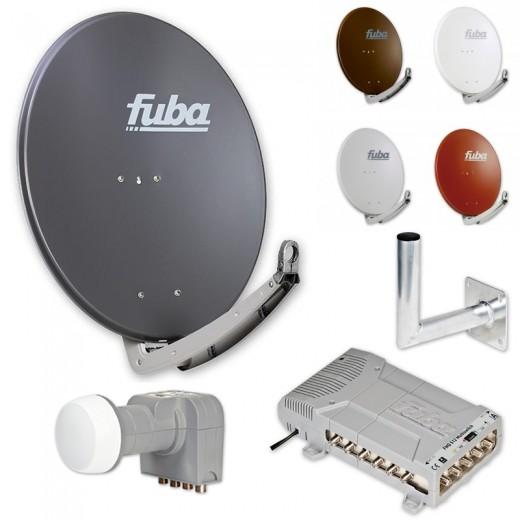 Fuba DAA 780 HD Sat Anlage - 12 Teilnehmer (FMQ 512) - Sat Anlage bestehend aus Fuba DAA 780 in Ihrer Wunschfarbe + Fuba DEK 406 Quattro LNB + Fuba FMQ 512 + Fuba DAZ Wandhalter nach Wahl