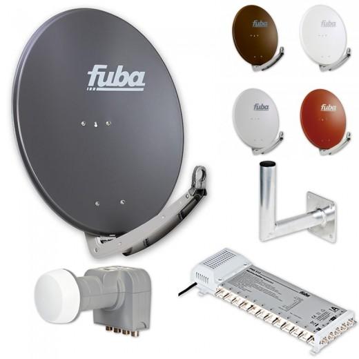 Fuba Digital Sat-Anlage 12 Teilnehmer | Fuba DAA 780 in Wunschfarbe + DEK 406 Quattro LNB + Fuba FMS 512 Multischalter + Winkelwandhalter