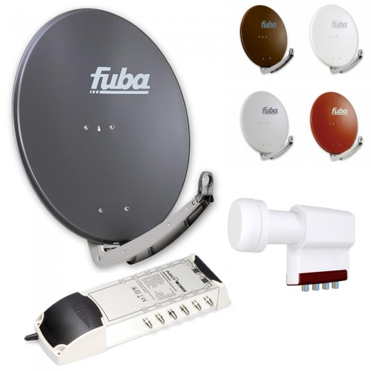 12-Teilnehmer-Sat-Anlage | Fuba DAA 780 Sat-Schüssel + LNB + 5/12 Multischalter