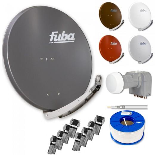 Fuba Digital Sat-Anlage 4 Teilnehmer | Fuba DAA 850 Sat-Antenne Alu + DEK 417 Quad LNB + 100m Brandschutz-Koaxialkabel KKE 740 inkl. F-Stecker