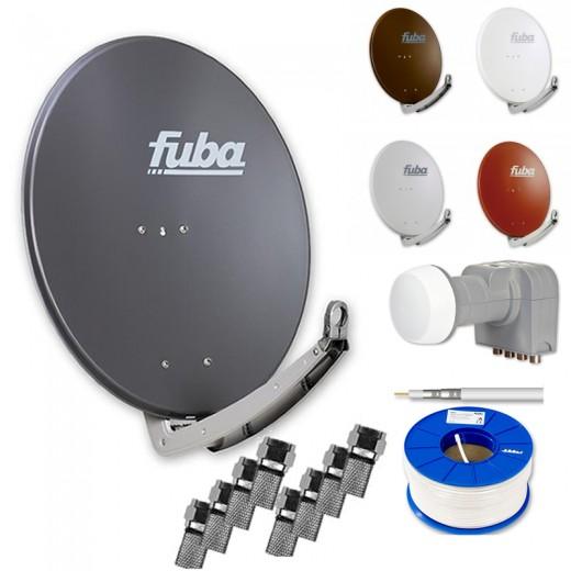 Fuba Digital Sat-Anlage 4 Teilnehmer | Fuba DAA 780 Sat-Antenne Alu + DEK 417 Quad LNB + 100m Brandschutz-Koaxialkabel KKE 740 inkl. F-Stecker