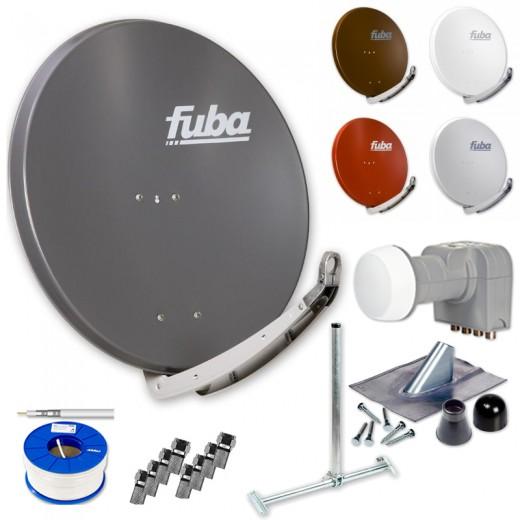 Fuba Digital Sat-Anlage 4 Teilnehmer | Fuba DAA 850 Sat-Antenne Alu + DEK 416 Quad LNB + 100m Brandschutz-Koaxialkabel KKE 740 inkl. F-Stecker + Dachsparrenhalter + Montageset