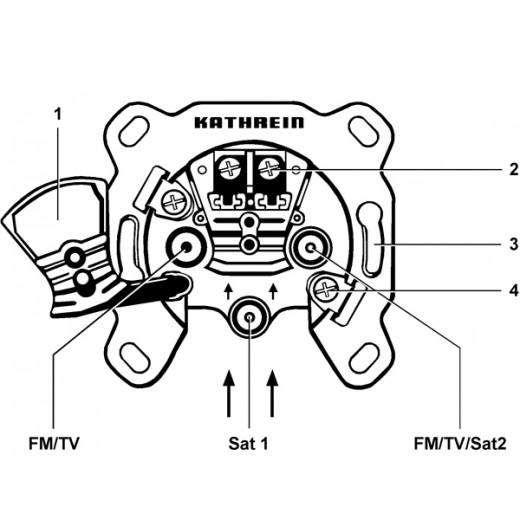 Kathrein ESD 32 Einzel-Sat-Steckdose | 3-Loch,2 Leitungen