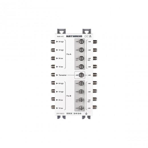 Kathrein EBX 2920 2-fach Sat-ZF-Verteiler | Verteilung von einer Stammleitung (zwei Satelliten) auf zwei Kaskaden