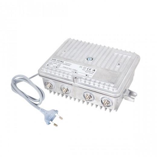 Kathrein VOS 137/RA Hausanschluss-Verstärker ortsgespeist | 30-40 dB Verstärkung, Dämpfungssteller 0-20 dB, Entzerrer 0-20 dB