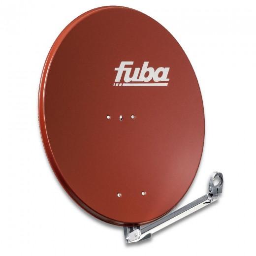 Fuba DAL 800 R Alu Sat-Antenne ziegelrot 74x84 cm | Aluminium Sat-Spiegel, klappbarer Feedarm, montagefreundlich