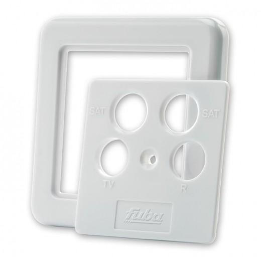 Fuba GDZ 400 4-Loch Abdeckplatte für Antennensteckdosen mit 4 Ausgängen perlweiß