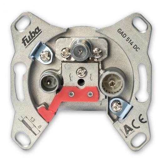 Fuba GAD 514 DC Antennen-Durchgangsdose mit DC-Durchlass, 3 separaten Anschlüssen und 14 dB Anschlussdämpfung