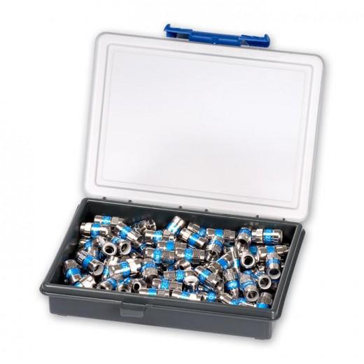 Fuba OVZ 027 Box Kunststoff-Box mit 100 Push-On F-Steckern für Kabel mit 4,8 mm Dielektrikum.