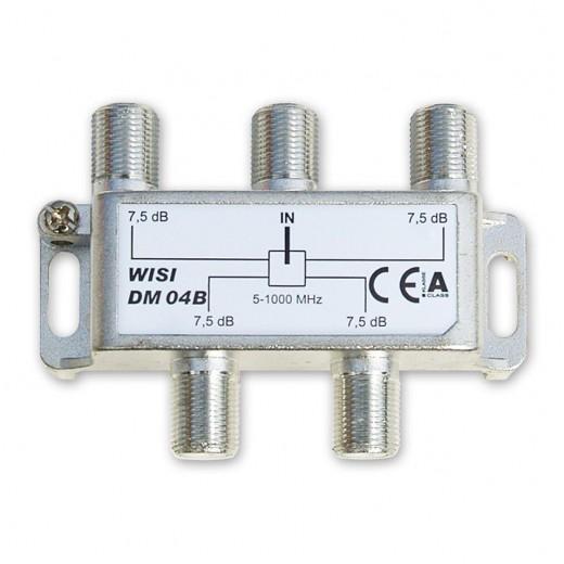 Wisi DM 04 B 4-fach BK-Verteiler 5-1000 MHz mit 7,5 dB Verteildämpfung