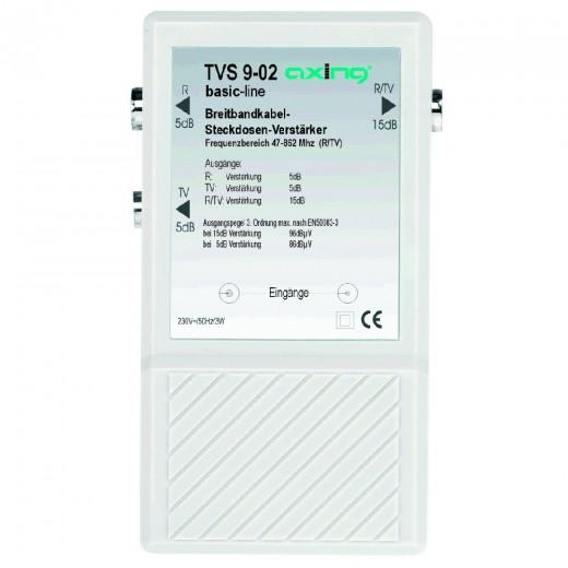 Axing TVS 9-02 Breitband-Steckdosen-Verstärker | 2 x 5 dB, 1 x 15 dB