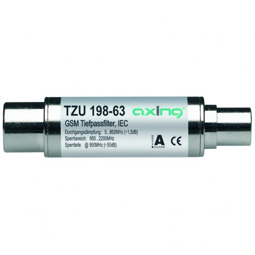 Axing TZU 198-63 DVB-T-Tiefpassfilter (5-862 MHz, Koax-Stecker - Koax-Buchse)