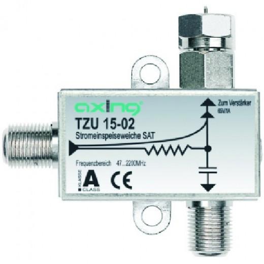 Axing TZU 15-02 SAT-Stromeinspeiseweiche zum Fernspeisen von Verstärkern BVS/SVS
