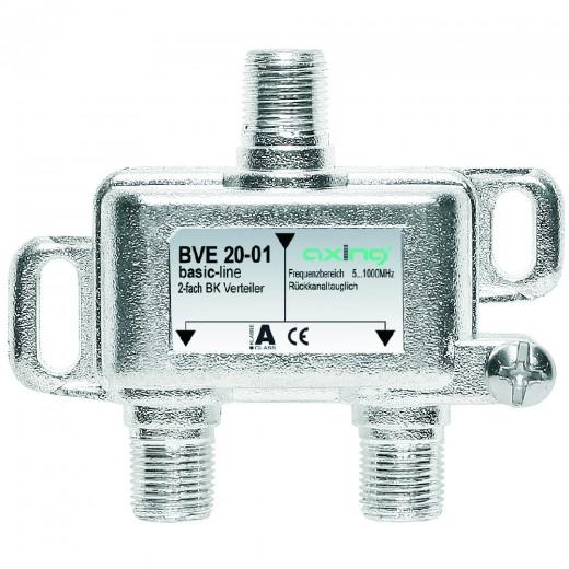 Axing BVE 20-01 2-Fach BK-Verteiler (5-1000 MHz) für BK/DVB-T2 HD, F-Anschlüsse