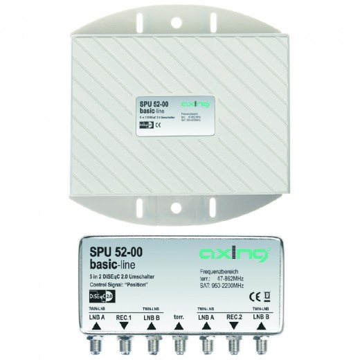 Axing SPU 52-00 Sat Umschalter | für 2 x Twin LNB, DiSEqC 5 in 2, Wetterschutz