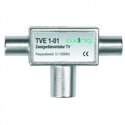 Axing TVE 1-01 TV Zwei-Geräte-Verteiler | 0,1-1000 MHz, 2x IEC-M und 1x IEC-F