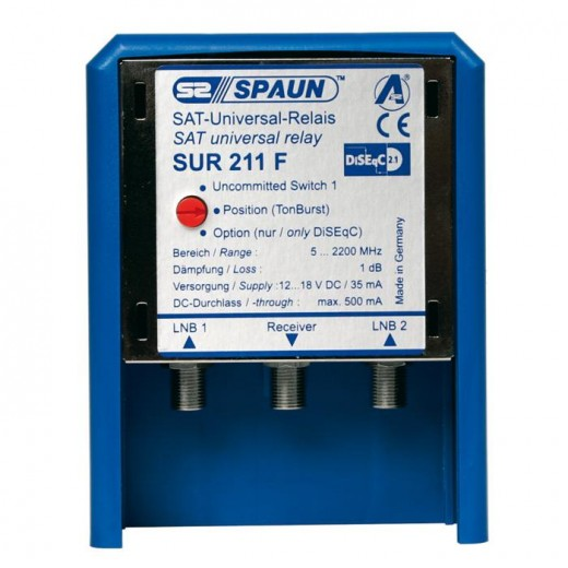 SPAUN SUR 211 WSG Sat-Antennen-Relais 2/1 | DiSEqC-Relais 2/1, Wetterschutzgehäuse, mit Optionsschalter
